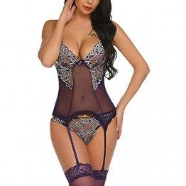 Luckycat Damen Sexy Dessous Erotisch Plus Size Black BH Unterhose Set Hot Pyjama Babydoll Cosplay-Kostüm Verführerisch NachtwäSche Sexy UnterwäSche Erotik Hipster - 1