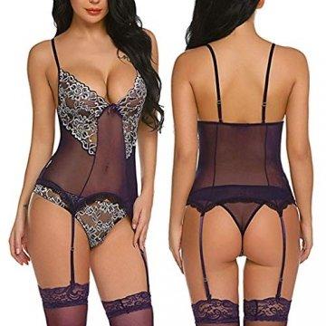Luckycat Damen Sexy Dessous Erotisch Plus Size Black BH Unterhose Set Hot Pyjama Babydoll Cosplay-Kostüm Verführerisch NachtwäSche Sexy UnterwäSche Erotik Hipster - 5