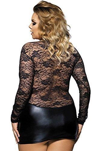 marysgift Damen Wetlook große größen Negligee Sexy Lederkleider Dessous Set Schwarz 5XL 48 50 - 2