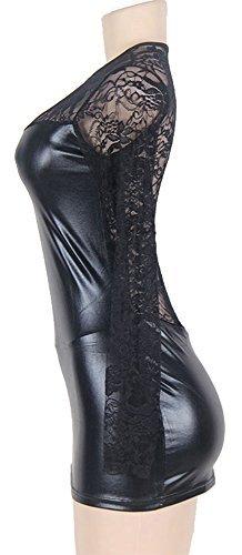 marysgift Damen Wetlook große größen Negligee Sexy Lederkleider Dessous Set Schwarz 5XL 48 50 - 3