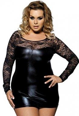 marysgift Damen Wetlook große größen Negligee Sexy Lederkleider Dessous Set Schwarz 5XL 48 50 - 1
