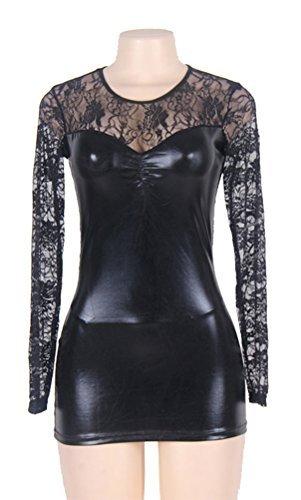 marysgift Damen Wetlook große größen Negligee Sexy Lederkleider Dessous Set Schwarz 5XL 48 50 - 4