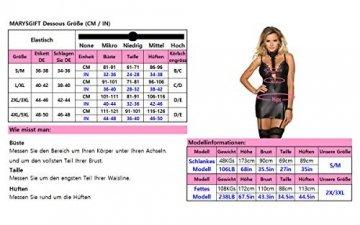 marysgift Damen Wetlook große größen Negligee Sexy Lederkleider Dessous Set Schwarz 5XL 48 50 - 5