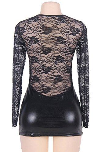 marysgift Damen Wetlook große größen Negligee Sexy Lederkleider Dessous Set Schwarz 5XL 48 50 - 6