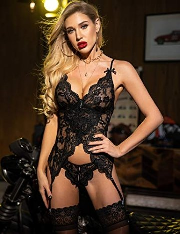 Meaneor_Fashion_Origin Damen Negligee Nachtwäsche Reizvolle Strapsen Reizwäsche Erotik Dessous Set V-Ausschnitt Spitze Unterwäsche Lingerie Babydoll Nachthemd mit Strumpfband- Gr. XL, Schwarz B - 3