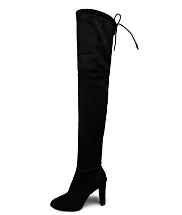 Minetom Basic Damen Overknees Schleifen Stiefel Velours Samt Schuhe Flach Langschaftstiefel Overknee Boots Blockabsatz Schwarz EU 36 - 1