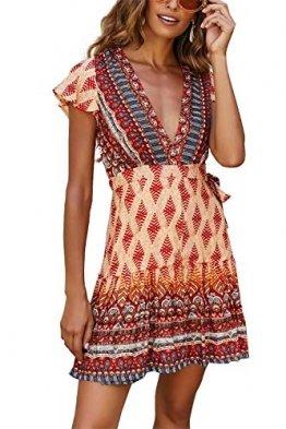 MisShow Damen luftiges Sommerkleid Casual Kleid Boho Maxikleid mit Schlitz Mini Orangen Gr. S - 1