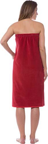 Morgenstern Saunakilt Damen Saunatuch mit Knöpfen Rot Baumwolle Sauna groß Tuch Sarong weich Spa Frauen Knöpfe Saunasarong mit Gummizug lang Tasche - 5