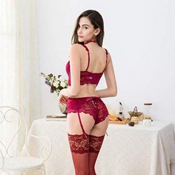 NING GEGE Frauen Push-up-BHS Set Spitze BH und Unterhose und Strumpfband und Strumpf 4 Stücke … (Rot, 85D) - 7