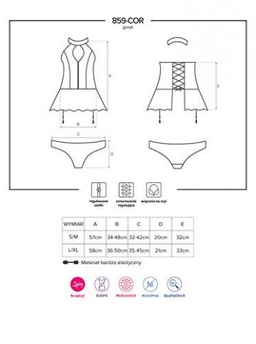 Obsessive Damen Neckholder-Straps-Corsage-Set im Wetlook L/XL - 3