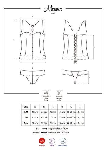 Obsessive edles Dessous-Set aus figurbetonendem Korsett mit Spitzen-Dekolletee und String, schwarz, Gr. L/XL - 5
