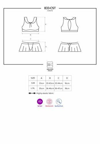 Obsessive verführerisches Dessous-Set und frivoles Studentinnen Kostüm in einem, weiß (S/M) - 3