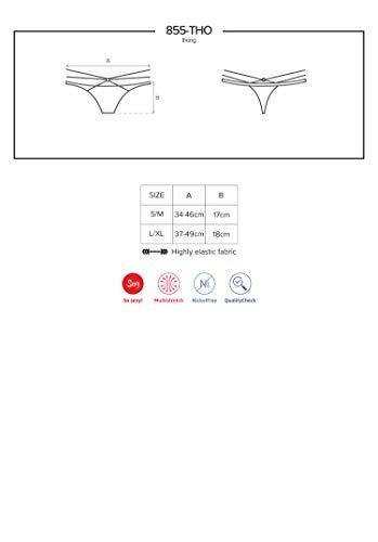 Obsessive verführerisches String aus durchsichtigem Netz und Riemchen, schwarz (S/M) - 4