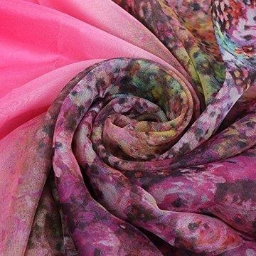 PB-SOAR XXL Mode Damen Sarong Pareo Strandtuch Wickelrock Wickeltuch Schal Halstuch mit Blumenmuster (Pink) - 2