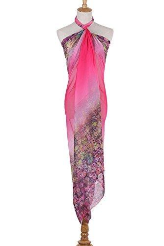 PB-SOAR XXL Mode Damen Sarong Pareo Strandtuch Wickelrock Wickeltuch Schal Halstuch mit Blumenmuster (Pink) - 3