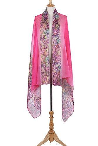 PB-SOAR XXL Mode Damen Sarong Pareo Strandtuch Wickelrock Wickeltuch Schal Halstuch mit Blumenmuster (Pink) - 5