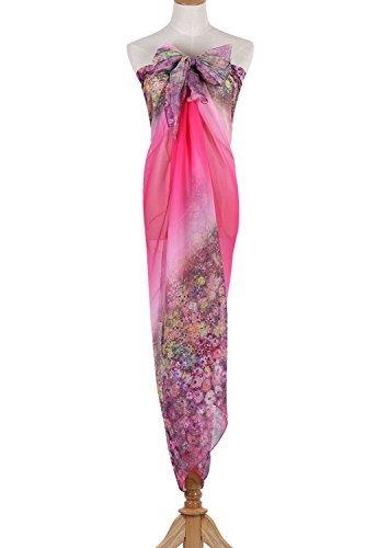 PB-SOAR XXL Mode Damen Sarong Pareo Strandtuch Wickelrock Wickeltuch Schal Halstuch mit Blumenmuster (Pink) - 6