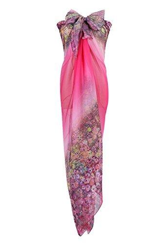PB-SOAR XXL Mode Damen Sarong Pareo Strandtuch Wickelrock Wickeltuch Schal Halstuch mit Blumenmuster (Pink) - 1