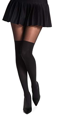 Romartex Damen Strumpfhose mit Overknees Muster 20/60 DEN, L, schwarz - 1