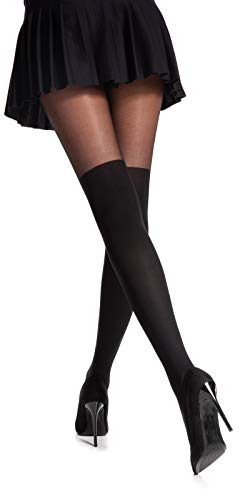Romartex Damen Strumpfhose mit Overknees Muster 20/60 DEN, L, schwarz - 2