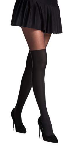 Romartex Damen Strumpfhose mit Overknees Muster 20/60 DEN, L, schwarz - 3