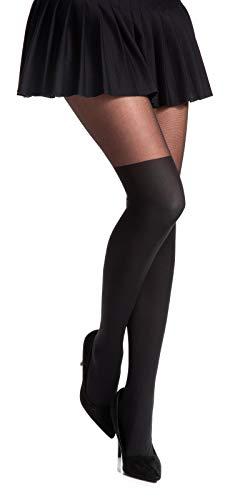 Romartex Damen Strumpfhose mit Overknees Muster 20/60 DEN, L, schwarz - 4
