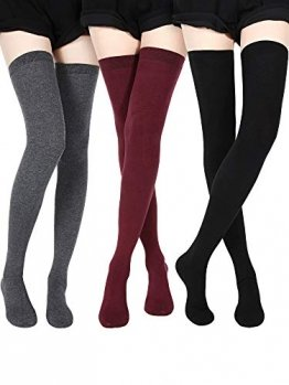 SATINIOR Extra Lange Socken Oberschenkelhohe Baumwollsocken Extra lange Stiefelstrümpfe für Mädchen Frauen (Black, Dark Grey, Wine Red, 3) - 1