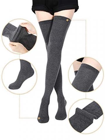 SATINIOR Extra Lange Socken Oberschenkelhohe Baumwollsocken Extra lange Stiefelstrümpfe für Mädchen Frauen (Black, Dark Grey, Wine Red, 3) - 4