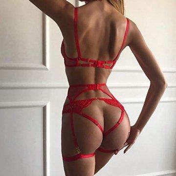SCHOLIEBEN Erotiek Erotische Dessous Damen Sexy BH Set Reizwäsche Strapsen Sissy Strapsen Netz Provocative Obssesive Nuttiges Body Reizvolle Unterwäsche - 4