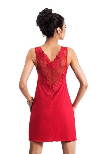 Selente edles Damen Negligee/Nachthemd mit eleganter Spitzenverzierung und zusätzlicher exklusiver Satin-Augenbinde, rot, Gr. 38 - 2