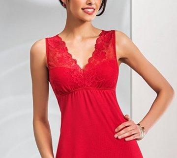 Selente edles Damen Negligee/Nachthemd mit eleganter Spitzenverzierung und zusätzlicher exklusiver Satin-Augenbinde, rot, Gr. 38 - 4