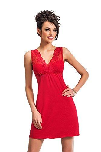 Selente edles Damen Negligee/Nachthemd mit eleganter Spitzenverzierung und zusätzlicher exklusiver Satin-Augenbinde, rot, Gr. 38 - 1