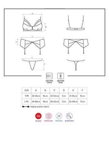 Selente Love & Fun verführerisches 4-teiliges Damen Unterwäsche-Set aus BH, Strapsgürtel/Strumpfhaltern, Tanga & Satin-Augenbinde, Made in EU, schwarz, Gr. S/M - 2