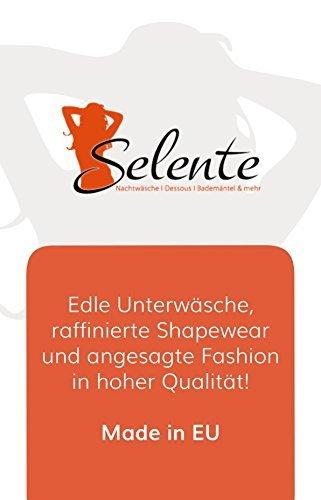 Selente Love & Fun verführerisches 4-teiliges Damen Unterwäsche-Set aus BH, Strapsgürtel/Strumpfhaltern, Tanga & Satin-Augenbinde, Made in EU, schwarz, Gr. S/M - 5