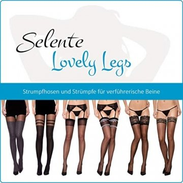 Selente Lovely Legs raffinierte Damen Strapsstrümpfe, 40 DEN, Made in EU, schwarz-Herzchen, Gr. L - 2