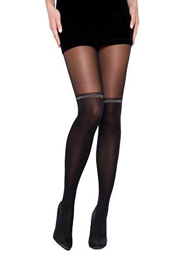 Selente Lovely Legs raffinierte Damen Strumpfhose in Strapsstrumpf-Optik, 30 DEN, Made in EU, schwarz-Glitzer, Gr. XL - 1