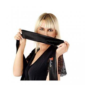 Selente Luxury Love verführerisches 3-teiliges Damen Dessous-Set aus Corsage mit Strapshaltern, Slip und exklusiver Satin-Augenbinde Made in EU, Weiß-Schwarz-Spitze,Gr. S/M - 3