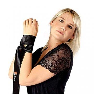 Selente Luxury Love verführerisches 3-teiliges Damen Dessous-Set aus Corsage mit Strapshaltern, Slip und exklusiver Satin-Augenbinde Made in EU, Weiß-Schwarz-Spitze,Gr. S/M - 7