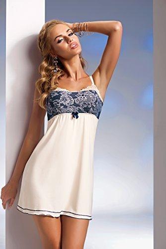 Selente Sweet Dreams hochwertiges Nachthemd/Negligee mit Spaghettiträger und mit edlem Spitzeneinsatz Made in EU, Spaghettiträger in Ecru/Dunkelblau, Gr. S - 3