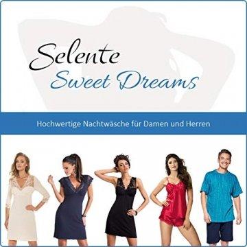 Selente Sweet Dreams Nachthemd/Negligee/Morgenmantel mit auffälligem Spitzeneinsatz und zusätzlicher exklusiver Satin-Augenbinde Made in EU, Schwarz Morgenmantel, Gr. 36 (S) - 5