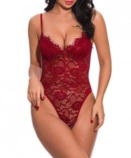 ShinyStar  Damen Sexy Body Dessous Rückenfrei Spitze Bodysuit Negligee Reizwäsche Unterwäsche Einteiliger Lingerie Nachtwäsche, M, Wein Rot2 - 1