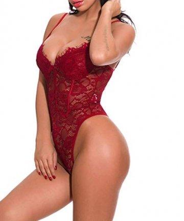 ShinyStar  Damen Sexy Body Dessous Rückenfrei Spitze Bodysuit Negligee Reizwäsche Unterwäsche Einteiliger Lingerie Nachtwäsche, M, Wein Rot2 - 5