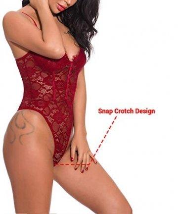ShinyStar  Damen Sexy Body Dessous Rückenfrei Spitze Bodysuit Negligee Reizwäsche Unterwäsche Einteiliger Lingerie Nachtwäsche, M, Wein Rot2 - 6