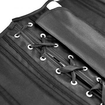 SZIVYSHI Ivy Shi Damen Unterbrust Satin Lace Up Waist Cincher Corset Shaper Corsage (M, Schwarz) - 3