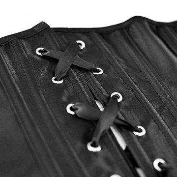 SZIVYSHI Ivy Shi Damen Unterbrust Satin Lace Up Waist Cincher Corset Shaper Corsage (M, Schwarz) - 6
