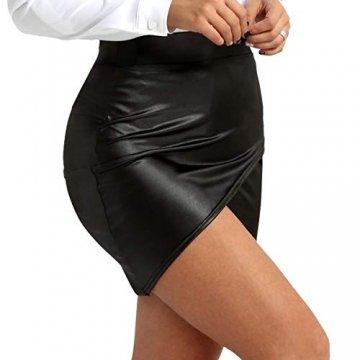 TiaoBug Damen Wetlook Leder Rock Bleistift Röcke Mini Leder Asymmetrisch High Waist Skirt Figurbetont kurz Enger Lederrock in Schwarz gr S-XL Schwarz L - 1