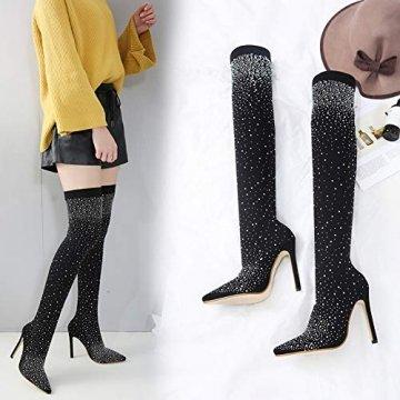 Xiedeai Damen Schuhe Strass Stretch Stoff Overknee Stiefel - Frau Sexy Dehnbar Langschaft Schenkelhoch High Heels Spitze Zehen Stiefel Party Kristall Stoff Sockenstiefel (Schuhe ist Kleiner) - 5