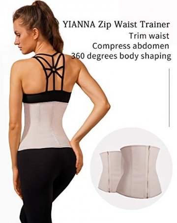 YIANNA Damen Latex Corsage Sport Korsett Unterbrust Bauch Weg Body Shaper Zipper und Hook Corsett Taille Trainer,UK-YA2219-Beige-M - 7
