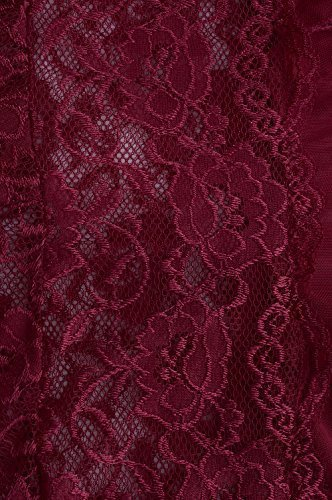 Yidarton Damen Nachtkleid Sexy Babydoll Dessous Set Erotik Lingerie V-Ausschnitt Kleid Spitze Unterwäsche (L, Rot) - 6