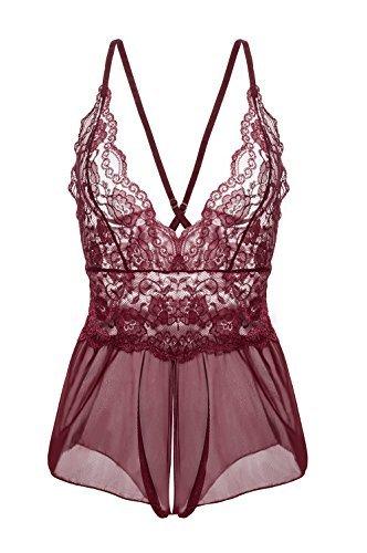 Yidarton Damen Nachtkleid Sexy Babydoll Dessous Set Erotik Lingerie V-Ausschnitt Kleid Spitze Unterwäsche (L, Rot) - 1